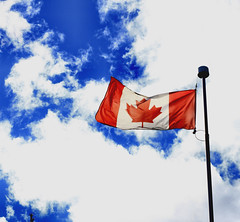 Oh Canada (CCphotoworks) Tags: canada flag canadianflag sky skybackground clouds outdoors weather