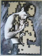 Katzenliebhaber / Man cuddling kitten (Leonisha) Tags: puzzle jigsawpuzzle unfinished
