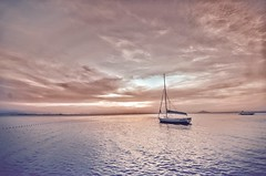 Just one moment.........in time! (Simon Parks) Tags: allinpink tranquility tranquilo sea boat calm sunset
