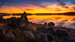 evening joy (SeALighT!) Tags: sweden schweden sverige lapland lappland arjeplog lake stones trees sunset dusk landscape