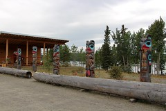 The 5 Teslin Tlingit Clan Poles (demeeschter) Tags: canada yukon territory teslin lake town heritage center native american tlingit historical museum art attraction