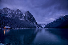 Blue Hour (gwendolyn.allsop) Tags: canada lake louise cabin light water cold morning d5200