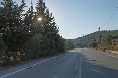 (Psinthos.Net) Tags:  psinthos sunnyday day    light sunlight      afternoon autumn october    sun sunrays  mountain   cypresstrees trees   road field   drygrass shadow   houses   olivetrees   cables antennas