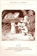 Whoa!  Something is on top already! (katinthecupboard) Tags: vintagechildrensillustrations monotone comurray elves mushroom toadstool toad frog