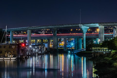 mission creek boathouses (pbo31) Tags: california bayarea november 2016 fall boury pbo31 nikon d810 sanfrancisco city lightstream motion traffic roadway night dark color blue chinabasin missioncreek missionbay boathouse 280 overpass ramp highway reflection channel bridge flyover