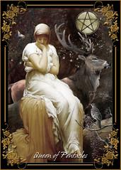 Queen Of Pentacles (jeanhutter) Tags: tarot queenofpentacles deer woods earthy bird pentacle queen