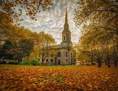 Autumn at St. Paul's (Vemsteroo) Tags: birmingham autumn fall stpauls square architecture brum urban city cityscape beautiful church leaves trees november woodland colourful sunrise dawn morning canon 5d mkiii 24mm tse tiltshift pano westmidlands jewelleryquarter jq