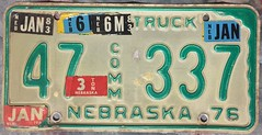 NEBRASKA 1980's---COMMERCIAL TRUCK PLATE, STICKER MADNESS (woody1778a) Tags: nebraska usa truck licenseplate numberplate registrationplate commercialvehicle license mycollection myhobby
