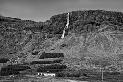 Bjarnarfoss waterfall, a jewel on Snaefellsnes peninsula (lunaryuna) Tags: iceland westiceland snaefellsnespeninsula bjarnarfoss waterfall mountain columnarbasalt landscape panoramicviews farm beauty blackwhite bw monochrome lunaryuna