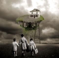 School Day (room17) Tags: school kids children surreal digitalart photomanipulation blackandwhite