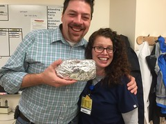 Brian and Annie with Banana Bread (marylea) Tags: brian annie work oct20 2016 bananabread goodbye thankyou fun workmates iphone