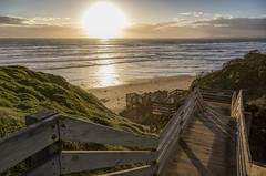 Heading to the beach to catch the sunset... (Pwa25) Tags: woolamai beach sun sunset phillipisland victoria australia steps ocean waves clouds sand canon canon5d3