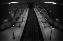 Lavov Most Station / Ricoh R1S (Shtani v Getri) Tags: ricoh r1s r1 kodak t max 100 iso tmax lifestyle bw black white grafffiti tain sofia spot subway atmosphere