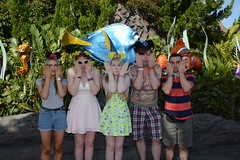 Epcot (Elysia in Wonderland) Tags: disney world orlando florida elysia holiday 2016 epcot finding nemo statues dory marlin fish funny pose clinton pete lucy becca