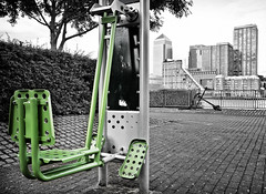 Exercise (Day 4) (.::Prad Patel::.) Tags: london river riverside exercise outdoor leg machine workout canarywharf gym rotherhithe
