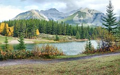 Johnson Lake, Banff National Park, Alberta - ps6478-83 (photos by Bob V) Tags: autumn panorama fallleaves mountains fall rockies autumnleaves autumncolours alberta banff rockymountains mountainlake albertacanada banffnationalpark fallcolours banffalberta johnsonlake banffpark banffalbertacanada mountainpanorama