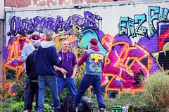 One building, one idea! ( 342nd picture of the same building) - `East side !: `Five years - graffitis and our sports hall ! (tusuwe.groeber) Tags: blue red streetart colour building rot art sport project germany graffiti purple jujitsu sony violet lila lilac colourful blau gebude farbig bunt projekt oldenburg farben violett favorit sportsclub niedersachsen lowersaxony sportshall sporthalle funkyfresh jujutsu lovelycity tusbloherfelde bloherfelde sonyphotographing nex7