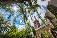 Spire & Sun (steven.hammerton) Tags: blue trees sky sun green church spire