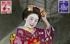 Maiko Hisafuku 1930s (Blue Ruin 1) Tags: japan japanese 1930s postcard maiko geiko geisha kanzashi showaperiod apprenticegeisha hanakanzashi obiage kyomaiko hisafuku kyotoapprentice