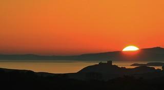 Cricieth castle sun set silhouette November 1 2015 taken from Tremadog rocks