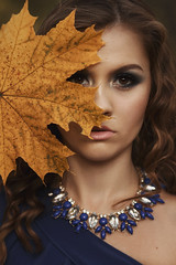 Alyona (ivankopchenov) Tags: blue autumn portrait people orange girl leaves forest outdoor