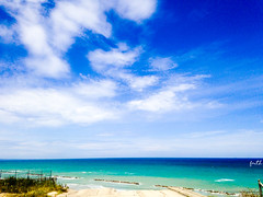 Fifty Shades of Blue (Faith___x) Tags: mare sea cielo sky nuvola nuvole cloud clouds road strada roads grass erba cespuglio scogli blu acquamarina blue light luce relax flickr panorama landscape landscapes beach