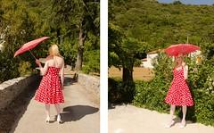 Standing in the sun. (sabine57) Tags: stockings umbrella drag tv pumps highheels dress cd crossdressing tgirl transgender parasol tranny transvestite crossdresser crossdress nylons travestie polkadotdress transvestism seamedstockings seamednylons