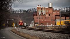Q388 @ Smithton (benpsut) Tags: railroad unitedstates pennsylvania trains canadianpacific smithton csx emdsd60 csxpittsburghsub cp6242 jonesbrewery csxq388