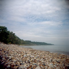 Day 340 (jwbeatty) Tags: lake 120 film beach water analog mediumformat landscape illinois holga ishootfilm lakemichigan holga120n fortsheridan filmisnotdead lomography100