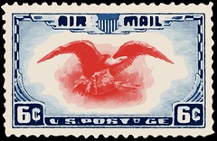 Vectorized 6¢ Airmail Stamp (sjrankin) Tags: illustration edited library historic stamp usps processed airmail vectorized 6¢ 20december2015