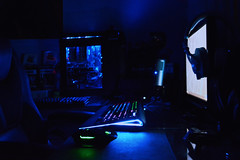 Gaming At Night (F051) Tags: blue night race computer dark pc neon led master gamer rig corsair workstation setup hdd thermaltake overclock ouroboros razer ssd battlestation steelseries