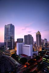 Sahid Jaya Hotel, Jakarta (Fanni Ichwan) Tags: blue sky night buildings landscape cityscape wide jakarta tripoded