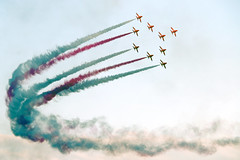 The Red Arrows (Cumberland Patriot) Tags: the red arrows raf royal air force theredarrows aerobatic display team bae hawker t1a hawk jet trainer training aircraft airplane dawlish carnival devon blue sky