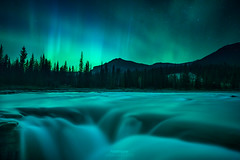 'Fire On Water' - Athabasca Falls, Jasper National Park (Gavin Hardcastle - Fototripper) Tags: aurora northern lights athabasca falls river jaspper national park canadian rockies astrophotography night nightscapes gavinhardcastle fototripper