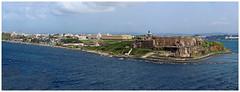 Leaving San Juan - Puerto Rico (TravelsWithDan) Tags: castillodesanfelipedelmorronationalpark caribbean channel sanjuan puertorico fromthecruiseshipdeck panorama landscape ocean water