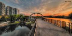 Jewel Bridge sunset (surreal effect) (Ken Goh thanks for 2 Million views) Tags: jewel bridge sunset golden sun blue sky reflection water moving clouds smooth silhouette pentax k1 sigma 1020