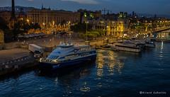 2169  Puerto de Barcelona (Ricard Gabarrs) Tags: agua mar puerto puertodebarcelona ricgaba ciudad barco barcos yate yates nocturno nocturna ricardgabarrus olympus panoramica