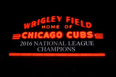 Wrigley Field - World Series (maui photographer) Tags: wrigley field world series wrigleyville chicago cubs baseball 2016 national league champions pennant sports base ball dark color colors neon sign street photography streetphotography nikon d3300 dslr nikonproject366 marques baclig mauiphotographer