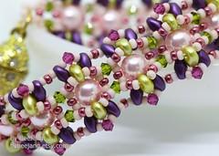 Althea (BeeJang - Piratchada) Tags: beadweaving beadwork beading beaded superduo pearl swarovski jewelry handmade bracelet gold golden miyuki blue copper purple