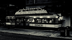 Mickey's Dining Car (Pete Zarria) Tags: minnesota dining diner eat small neon sign bw blackwhite night retro nostalgia burger malt fries city stpaul saint metro urbanlight old hopper meatloaf coffee railcar railroad passenger