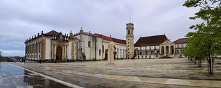 The old Coimbra University square on a rainy day