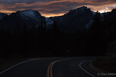 Keep going (d.mitler) Tags: road path pathway street colorado dark sun sunset twilight cloud clouds mountain mountains snow snowy sky peaks rockies rockymountains nationalpark