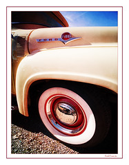 Ford F-100 #2 (madmtbmax) Tags: backgrounds picspecials ford f100 pickup hot rod american car us usa oldtmer hobby cream red crimson auto 1950s 50s hubcap tyre wheel detail logo emblem chrome frame framed nikon d700 worldcars