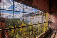 (Landie_Man) Tags: none unfinished incomplete construction ceased stopped closed shut done reactor halted 5 6 five six chernobyl cherno ukraine pripyat nuclear power plant radioactive core cars abandoned trucks bulldozer dozer disused concrete cranes