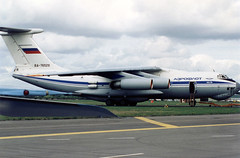 Ilyushin Il-76 RA-76529 01 Farnborough September 1994 (Victor Vulcan) Tags: ilyushinil76 ra76529 aeroflot аэрофлот farnborough aircraft airplane plane aeroplane