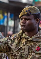 Remembrance Sunday parade, Canterbury, 13 Nov 2016 (chrisjohnbeckett) Tags: portrait soldier black remembrancesunday army war remembering marching uniform canterbury street urban military chrisbeckett canonef135mmf2lusm poppy red photojournalism pwrr princessofwalessroyalregiment
