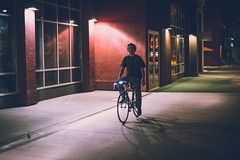 Look Ma, No Hands (emansanpascual) Tags: cyclist streetphotography street nightphotography night freeze 35mm nikon nohands frozenphoto colored