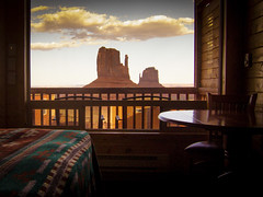some days (Jo-H) Tags: monumentvalley themittens view cabin desert blanket chair table window stilllife americansouthwest navajo sunset cinema cinematic cinematography