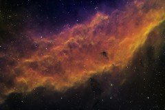 California Nebula - NGC 1499 (Explored) (Manifest Stephanie) Tags: tele vue ngc 1499 deepsky astronomy astrophotography california narrowband astrodon cloud break optics seattle qsi astrometrydotnet:id=nova1835397 astrometrydotnet:status=solved