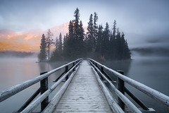 Pyramid Island, Canada [Explored] (Sunny Herzinger) Tags: sunrise bridge travel nationalpark canada fujixpro2 alberta jasper cakanada ca